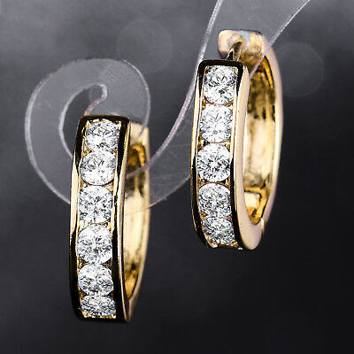 Luxury Ring Huggie Gold Filled Clear Crystal Rhinestone Women Party Hoop Earring