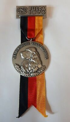 Jagdspaniel Hund Cocker Medaille Münze 1974 Zucht Spaniel Dog Breed Orden Schau