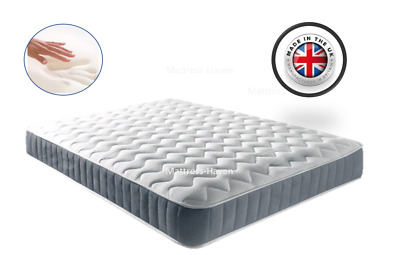 Memory Foam Mattress Quilted Sprung/Spring Single 3ft Double 4ft6 5ft Matress UK