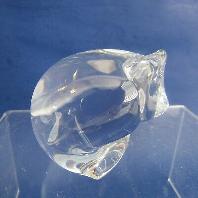 Orrefors Sweden Crystal Cat Paperweight With Original Label And Signed