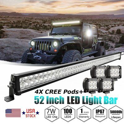 """4X Offroad CREE PODS+CREE 52"""" LED Light Bar Combo Flood&Spot Work Driving SUV US"""