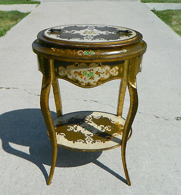 French Painted Sewing Basket Stand circa 1900