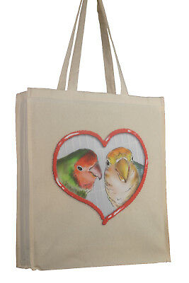 Lovebird Bird Themed Cotton Bag with Gusset Xtra Space Perfect Gift