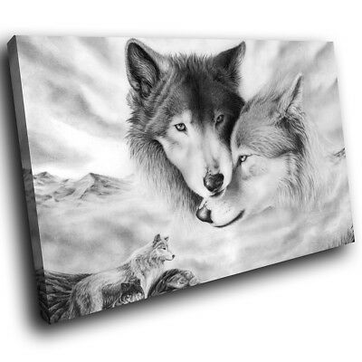 Arctic Wolves Black White Funky Animal Canvas Wall Art Large Picture Prints