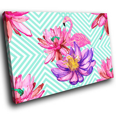 Blue Pink Floral Flamingo Funky Animal Canvas Wall Art Large Picture Prints