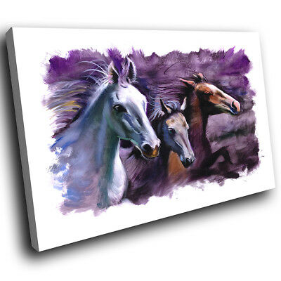 Purple Horse Watercolour  Funky Animal Canvas Wall Art Large Picture Prints