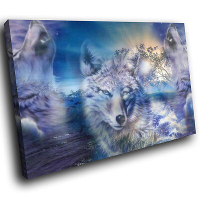 Wolf Abstract Blue Black Funky Animal Canvas Wall Art Large Picture Prints