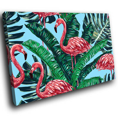 Blue Green Floral Flamingo Funky Animal Canvas Wall Art Large Picture Print