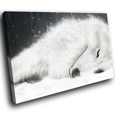 White Winter Wolf Snow Funky Animal Canvas Wall Art Large Picture Prints