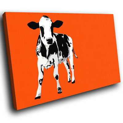 Orange Abstract Black Cow Funky Animal Canvas Wall Art Large Picture Prints
