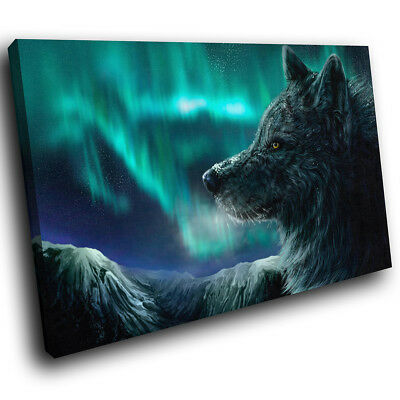 Northern Light Winter Wolf Funky Animal Canvas Wall Art Large Picture Print