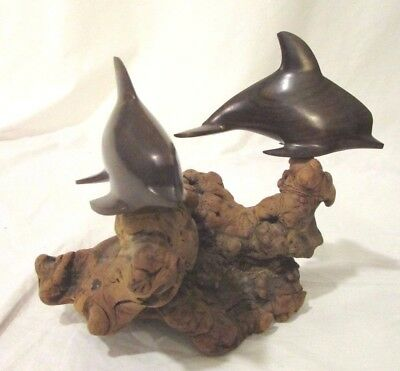 Dolphins Mounted On Burl Driftwood Sculpture Carved Wood Made in Mexico