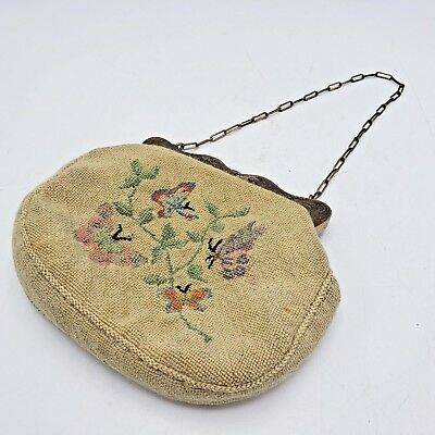 Small Antique Sterling Silver Mounted Needlepoint Purse AHM Monogram w/ Chain