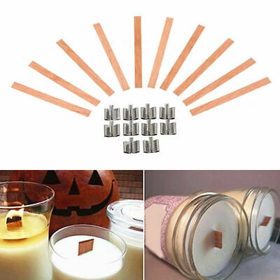 10pcs/set Wooden Wick Candle Core With Metal Sustainer Stand DIY Soap Making Kit