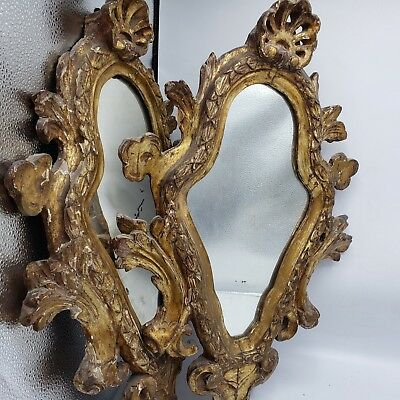 """Antique Pair of Shabby Chic Carved Wood Gilt Gold Mirrors - Home Decor ~ 22"""""""
