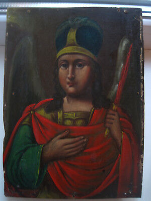"""Antique 19c Russian Orthodox Hand Painted icon """"Archangel Michael""""."""