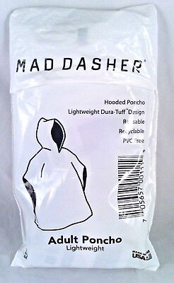 Lightweight Mad Dasher Reusable Hooded Adult Rain Poncho  New