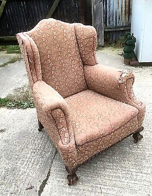 Antique Ball And Claw Wing Chair Upholstery Project
