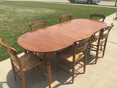 Vintage Ethan Allen Maple Dining Room Set Table w/2 Leaves + 6 Hitchcock Chairs