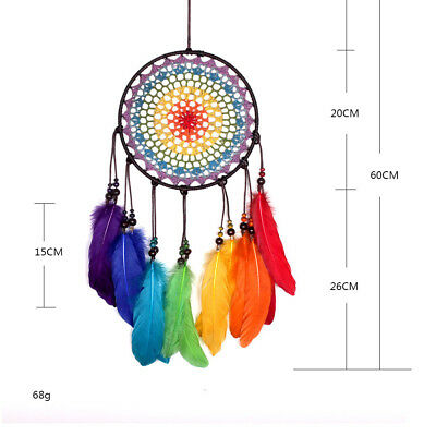 55cm Handmade Lace Dream Catcher Feather Bead Hanging Decoration Ornament L