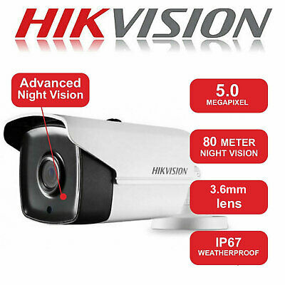 HIKVISION CAMERA 5MP CCTV BULLET 80M 40M True Day/Night IP67 DS-2CE16H0T-IT3F UK
