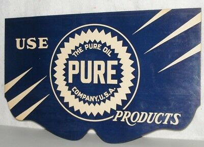 PURE MOTOR OIL SIGN 1920's Authentic DOUBLE SIDED CARDBOARD AUTO RADIATOR COVER