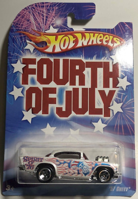 Hot Wheels Fourth of July Series '57 Chevy White Spoke Five Wheel Exposed Engine