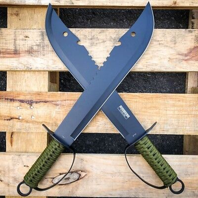 "2 Pc 19.5"" Jungle Machete Hunting Knife Military Tactical Survival Sword Set"