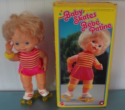 "15"" Vintage Baby Skates Doll w/Box! Works! Very Nice! 1982 Mattel"