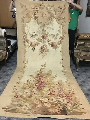 """Aubusson Large French Antique Tapestry 18th-Century Floral Decor 52"""" X 130"""""""