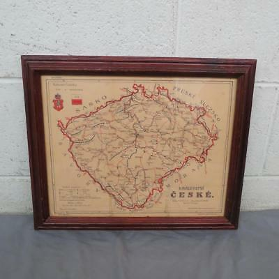"RARE Antique 1930 Czech Kingdom Framed Road Map 13"" x 16"" GREAT Fast Shipping"