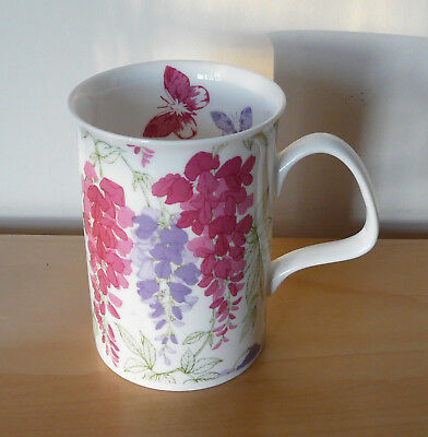 LAURA ASHLEY Fine Bone China Wisteria Floral Butterfly Mug Cup 2009 Pink Purple