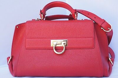 f17a5a666d5 NEW SALVATORE FERRAGAMO Sofia Red Bag Shoulder Handbag Leather ...