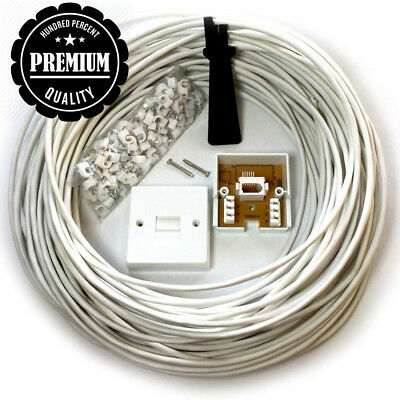 Loops 25M BT Telephone Master Socket/Box Line Extension Cable Kit - 10m 15m...