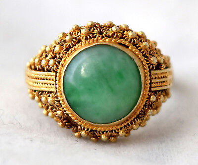 Vintage Chinese Gold Gilded Silver and Jade Filigree Ring Size 6.5 - 7.5