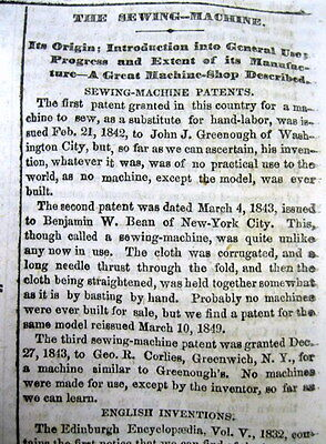 1862 newspaper with INVENTION of the SEWING MACHINE - best long detailed report