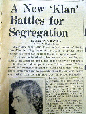 1954 newspaper KU KLUX KLAN resurfaces in Civil Rights era JACKSON Mississippi