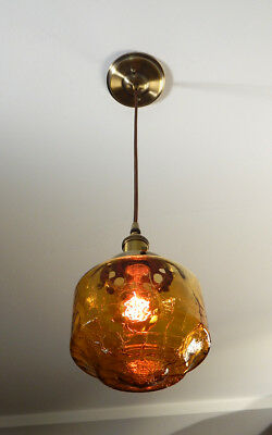 Cloth Cord Pendant Ceiling Light, Featuring Vintage Glass Shade and New Fixture