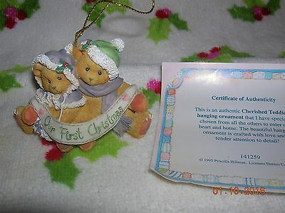 CHERISHED TEDDIES 1995 Our First Christmas Together Ornament #141259 w/BOX COA