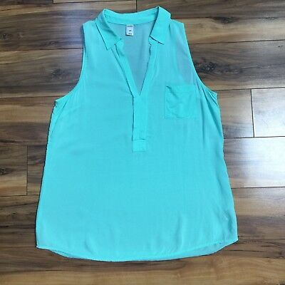 Old Navy Womens Small Seafoam Green Collared Sleeveless Blouse