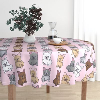 Round Tablecloth Frenchie French Bulldog Frenchy Dog Puppy Cute Cotton Sateen