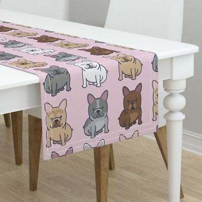 Table Runner Frenchie French Bulldog Frenchy Dog Puppy Cute Cotton Sateen