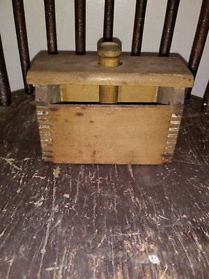 Large Antique Primitive Wooden Butter Mold Press Late 1800s Rectangular Stamp