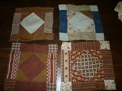4 Antique Quilt Blocks 1800's Calico's Hand Pieced Copper Madder Early #6