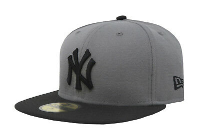 New Era 59Fifty Hat Mens MLB New York Yankees Storm Gray Black Fitted 5950 Cap