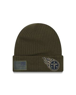 buy popular a754d 3e28d Tennessee Titans New Era 2018 Salute To Service Sideline Knit Hat - Olive