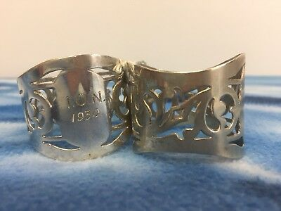Pair Of Vintage Art Deco Napkin Rings Marked I.O.N 1930 Hallmarked Not Silver