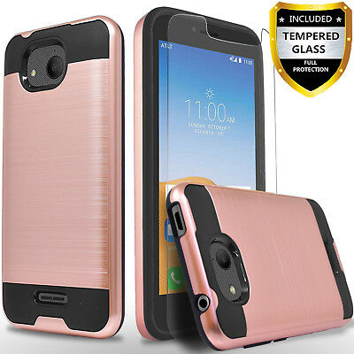 For Alcatel Tetra Phone Case, Shockproof Cover+Glass Screen Protector+Pen