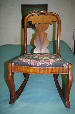 VINTAGE. 100 yrs old WOODEN  Rocking Chair,Upholstered Seat LOCAL PICK UP ONLY