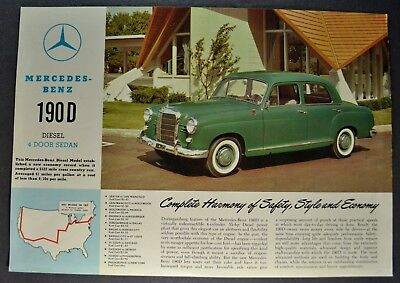 1959-1960 Mercedes Benz 190D 4-Door Sales Brochure Sheet Excellent Original